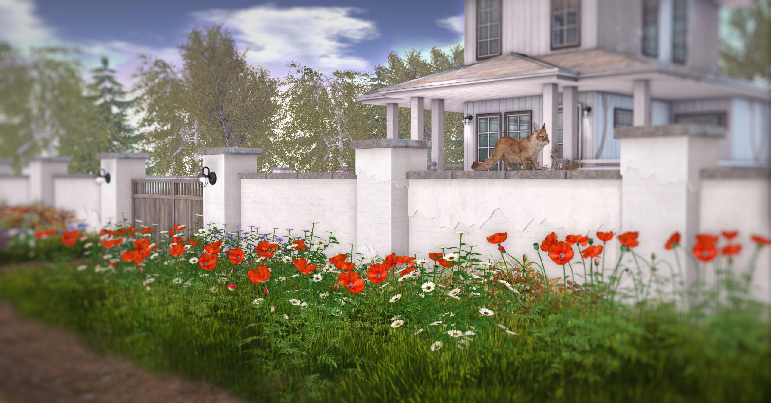 White garden wall